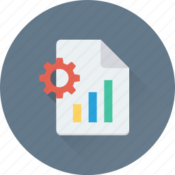 bar graph, cog, cogwheel, graph report, preferences icon