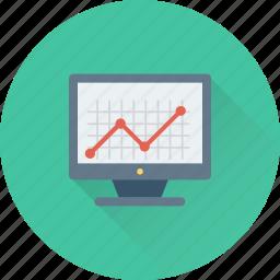 analytics, line graph, monitor, online graph, statistics icon
