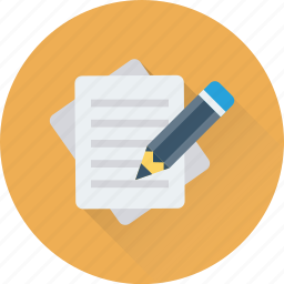 document, office document, pencil, sheet, writing icon