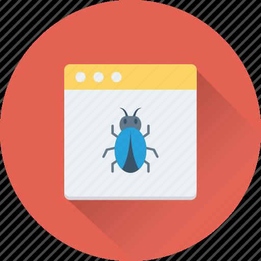 bug, malware, virus, web error, webpage icon