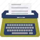 office material, paper writing, stenographer, typewriter, typing, typing tool icon