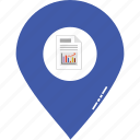 business report pin, location pin, locator, map location, map pin, navigation, report location icon