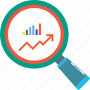 analytical chart, analytics, chart magnifying, infographics, search chart, search graph, statistics icon