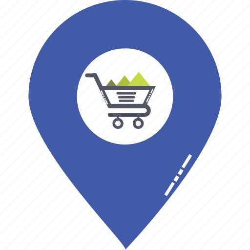 cart in gps, shopping area, shopping center, shopping location, shopping location pin, shopping mall location, shopping pointer icon
