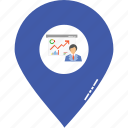 business event location, entrepreneur lecture location, event location, graph presentation location, presentation area, presentation location icon