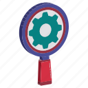 cog, magnifier, networking, optimization, search settings icon