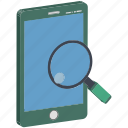 magnifying, mobile and magnifying, mobile data, mobile search, mobile with magnifier, search, search data icon