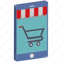 e commerce, m commerce, online shop, online shopping, shopping app, shopping basket, trolley icon