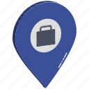 bag, briefcase, briefcase in map pin, case, luggage location, map pin, office location icon