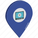map pin, movie gps, movie location, multimedia location, multimedia navigation, tablet in map pin, technology location icon