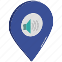 music location, music with location pin, speaker location, volume location, volume sign with map pin, volume sign with navigation, volume with location pin icon