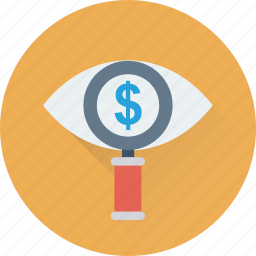 commerce, dollar, magnifier, searching finance, view icon
