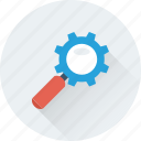 cogwheel, control, gear, magnifier, optimization icon