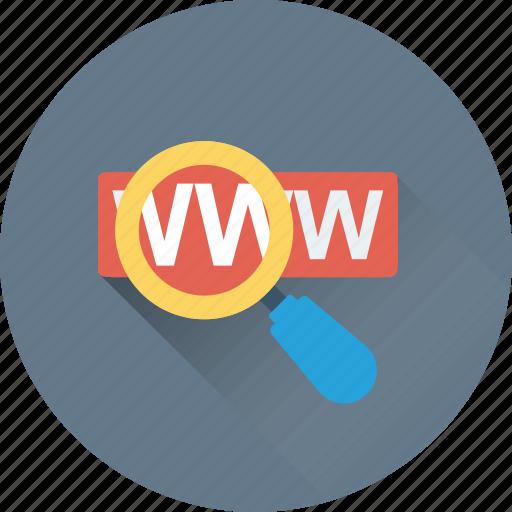 magnifier, search domain, url, website, www icon