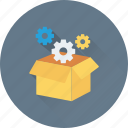 box, cog, cogwheel box, gear, pack icon