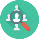 find staff, job applicant, magnifier, personnel search, recruitment icon