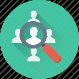 find staff, job applicant, magnifier, personnel search, recruitment icon