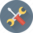 garage tools, repair tools, screwdriver, settings, spanner icon