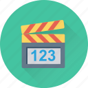 action, cinema, clapboard, clapper, movie icon