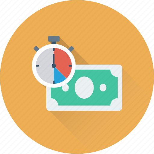 banknote, countdown, paper money, paper note, stopwatch icon