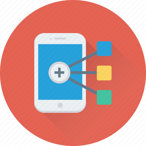 mobile, mobile hierarchy, scheme, structure, workflow icon