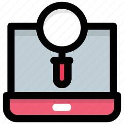 browsing, laptop magnifier, online research, online search, search results icon