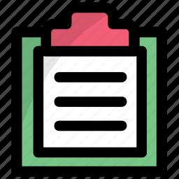 agenda list, clipboard, document, notes, paperwork icon