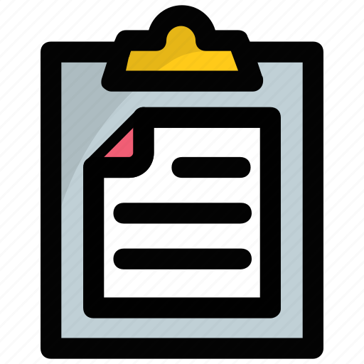 agenda list, clipboard, document, notes, paperwork icon