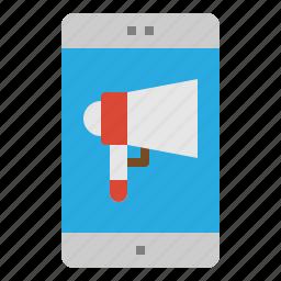 marketing, megaphone, mobile, phone icon
