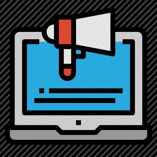 digital, laptop, marketing, megaphone icon
