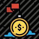 achievement, flag, mission, money, success icon