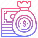 bag, budget, dollars, money icon