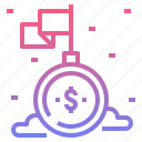 achievement, flag, mission, money, success icon