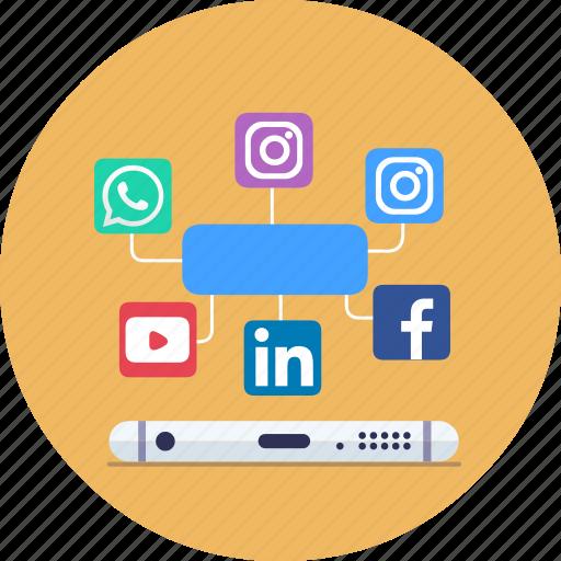 Marketing, media, seo, smo, social, social media icon
