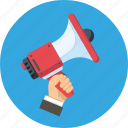 advertisement, digital marketing, hand, loudspeaker, megaphone icon