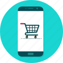cart, mobile, online shopping, shopping cart icon