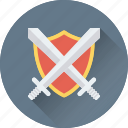 antivirus, protection, security, shield, swords icon