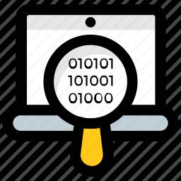 binary code, code focus, code magnifier, coding, programming icon