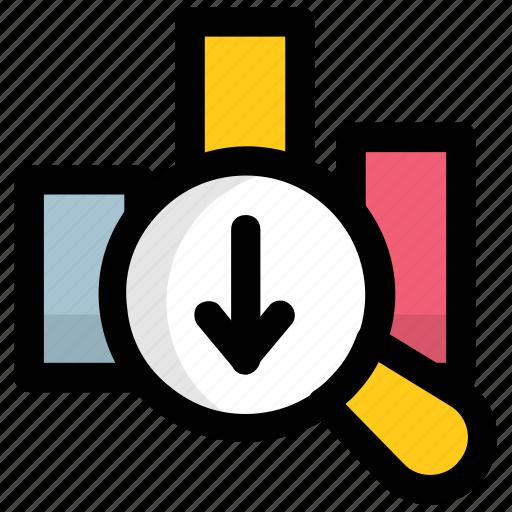 bar graph, graph, inspection, magnifier, regress icon