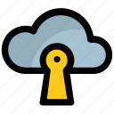 cloud computing, cloud keyhole, cloud protection, cloud security, data privacy icon