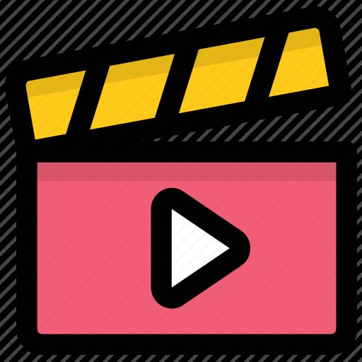 clapboard, clapper, clapper board, multimedia, shooting icon