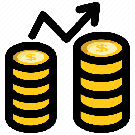economic growth, financial growth, growth rate, money stack, profit icon