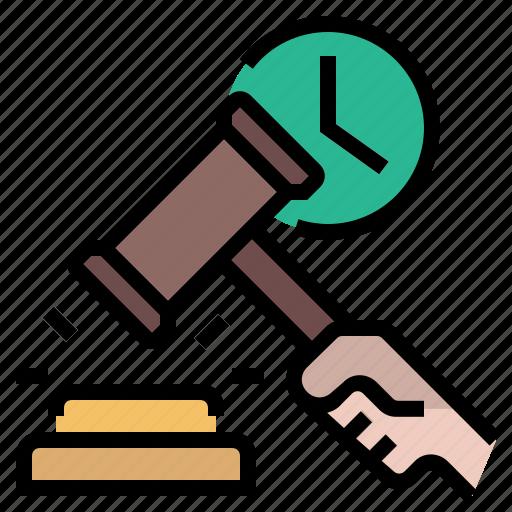 auction, bid, bidding, hammer, law, police, real time bidding icon