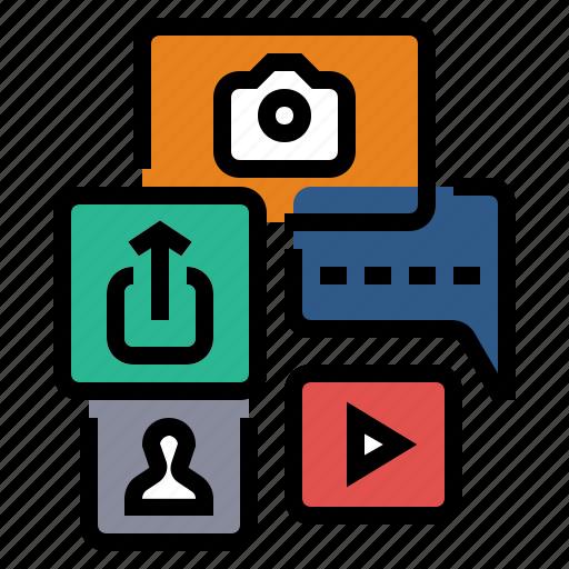 internet, media, network, share, sharing, social, social media icon