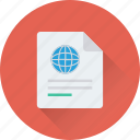document, global, globe, note, sheet icon