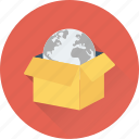 box, crate, delivery, global, globe icon