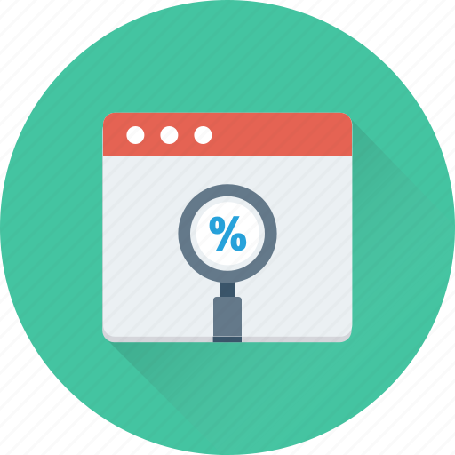 discount, find discount, magnifier, magnifying lens, percentage icon