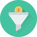 conversion, dollar, economy, exchange, funnel icon