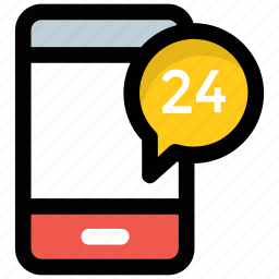 all day, customer support, helpline, mobile customer service, twenty four hours icon