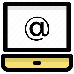 email message, emailing, laptop email sign, online communication, online mailing icon